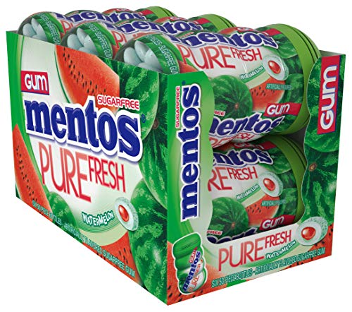 Mentos Pure Fresh Sugar-Free Chewing Gum with Xylitol, Watermelon, 50 Piece Bottle (Bulk Pack of 6)
