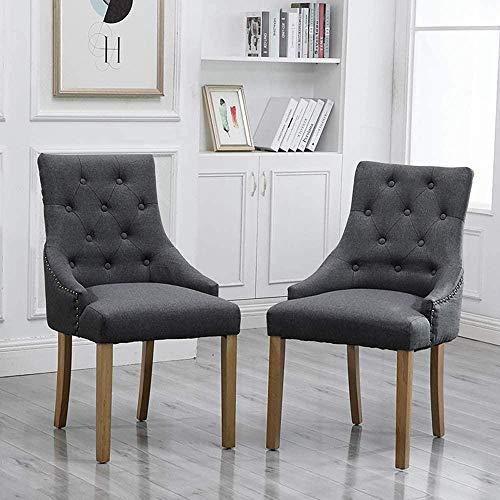 Moderne Küche Esszimmerstühle 2er-Set Set in Anthrazitgrau, bequemer Stoff, gepolsterte Stühle Studden mit Nailhead Black Wood Legs