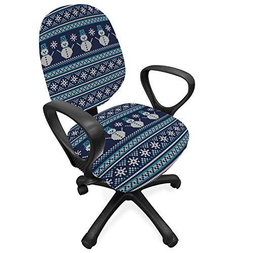 ABAKUHAUS Nordic Hoes voor Bureaustoel, Snowman Chevron Zigzag, Decoratieve en Beschermende Hoes van Stretchstof, Turquoise Dark Blue
