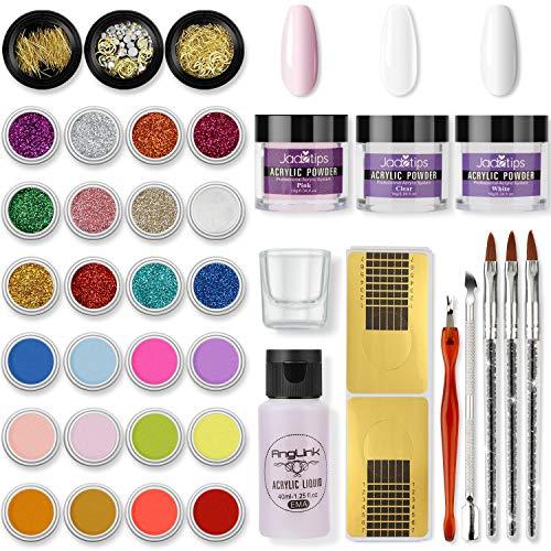 Set di polvere acrilica per unghie Set di polvere per unghie 24 colori di polvere acrilica Liquido acrilico completo per unghie Set di decorazioni per unghie conconfezione regalo