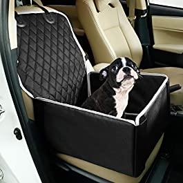 Toozey Dog Car Seat for Small Medium Dogs, Back Seat & Front Seat Dog Seat, Waterproof Car Seat Cover with Reinforced Walls, Extremely Durable & Easy to Install