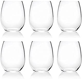 18-Ounce Acrylic Glassses Stemless Wine Glasses, Set of 6 Clear - Unbreakable, Dishwasher Safe, BPA Free