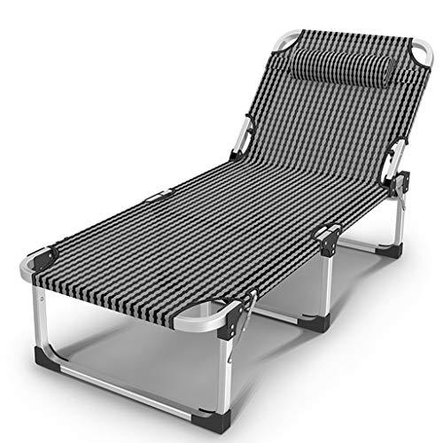 Lit de jardin pliant inclinable chaise de jardin lit de camping accompagnant lit de soleil réglable en Textoline résistant aux intempéries