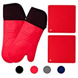 Silicone Oven Mitts and Potholders (4-Piece Set) Heavy Duty Cooking Gloves, Kitchen Counter Safe...