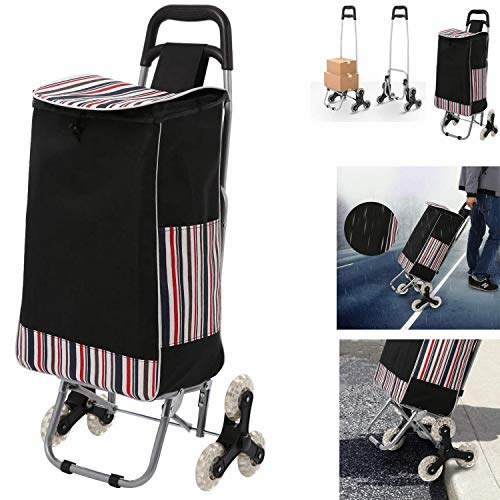 casulo Shopping Cart Trolley Foldable, Tri-Wheels Stair Climber Utility Cart with Detachable Waterproof Canvas Bag, Portable Grocery Cart 150lbs Capacity