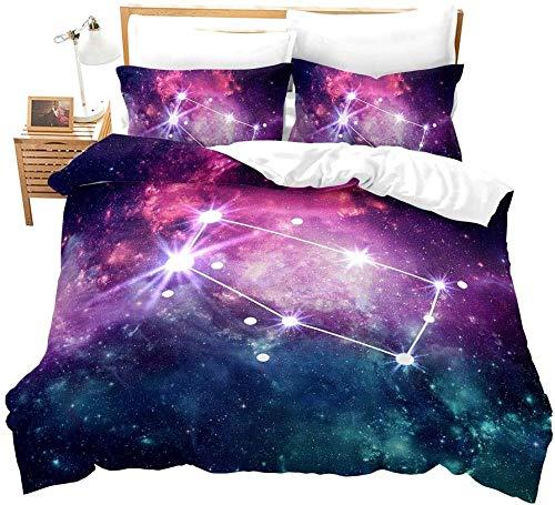 dsgsd Juego de Funda nórdica para niños Galaxia azul púrpura cielo estrellado paisaje Géminis 220x220cm juego de ropa de cama funda de edredón juego de cama para el hogar juego de cama con estampado d
