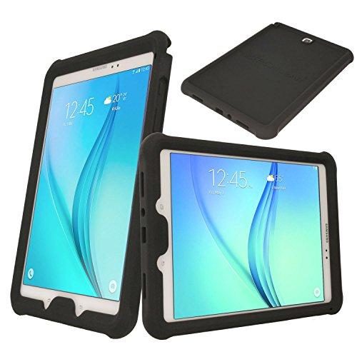 TECHGEAR Schutzhülle für Samsung Galaxy Tab A 9,7 (SM-T550 SM-T551 SM-T555), [Kinderfreundlich] Leichtes Koffer Silikon Soft Shell Anti-Rutsch-Shockproof Ecken + Displayschutzfolie. Schwarz
