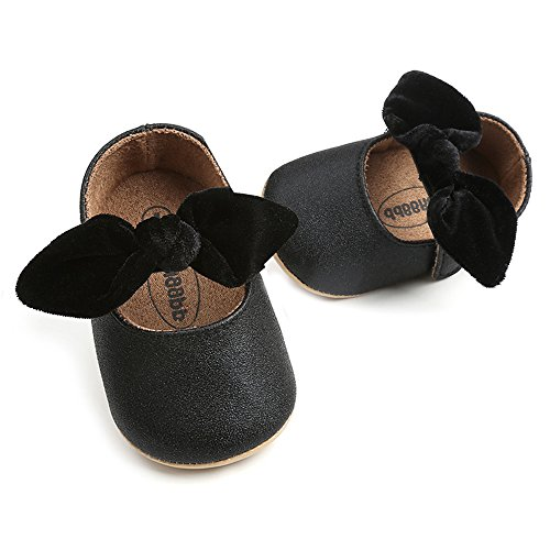 SOFMUO Antheron Baby Girls Non-Slip Mary Jane Flats with Bowknot Toddler First Walker Sandals Princess Dress Shoes (Black,6-12 Month)