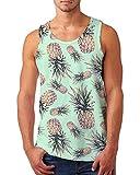 uideazone Pineapple Tank Top for Men Sleeveless Graphic Tees Casual Summer Hawaiian Shirt Tanks