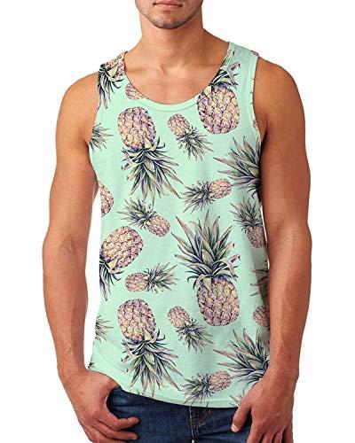 uideazone Pineapple Tanks for Men Gym Workout Tank Top Summer Sleveeless Beach Hawaiian Shirts