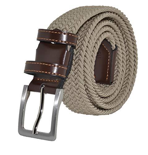 GreSel Cintura Intrecciata, in Tessuto Elastico Con Inserti in Vera Pelle, (120, Beige)
