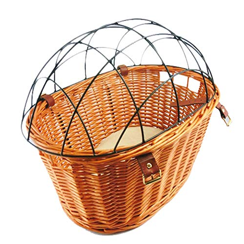 Fantastic Deal! DEPRQ Bicycle Basket Bike Basket Bicycle Wicker Basket with Protective Wire Rear Mou...