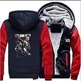 LXSH Männer Hoodie Zip Stitching Langarm-Jacke Warm Teen Gift The Walking Dead Druck Lässige Pullover Baseball Uniform Mantel,B-S