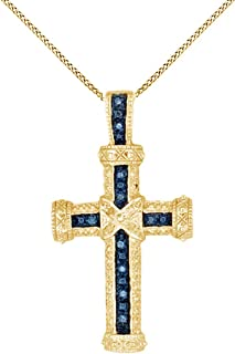 Jewel Zone US Blue & White Natural Diamond Cross Pendant Necklace 14k Gold Over Sterling Silver (1/10 Ct)