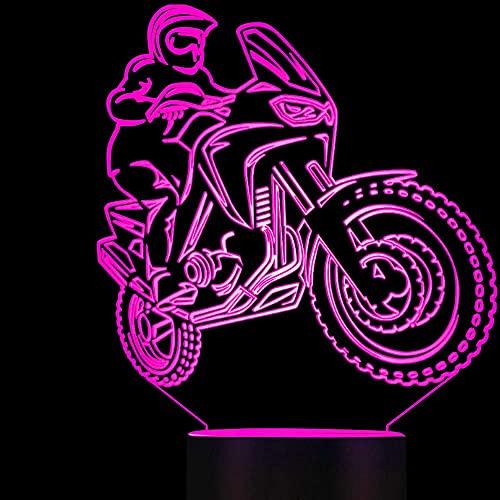Faro de motocicleta 3D ilusión óptica luz nocturna 7 colores cambiantes de color decoración de la mesa luz regalo de Navidad perfecto juguete USB