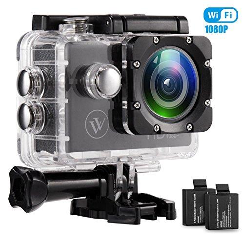 Impermeabile WiFi sport Action Camera 1080p 5,1cm display 170gradi obiettivo grandangolare casco Cams due batterie 900mAh e kit di accessori per il montaggio