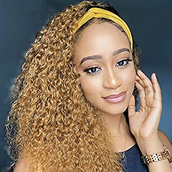 Gusif Hair Headband Wig Curly Wigs for Black Women None Lace Front Kinky Curly Wigs with Headband Synthetic Hair 150% Density Machine Made Wave Natural Color 12 inch 4 27 12 Inch