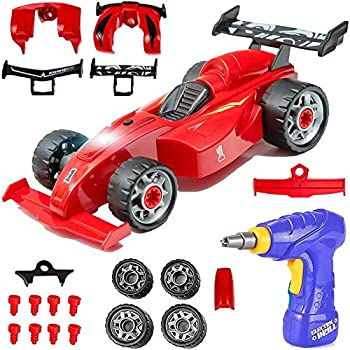 Liberty Imports Kids Take Apart Toys - Build Your Own Formula Race Car Toy Vehicle Construction Playset - Realistic Sounds and Lights with Tools and Power Drill  Formula