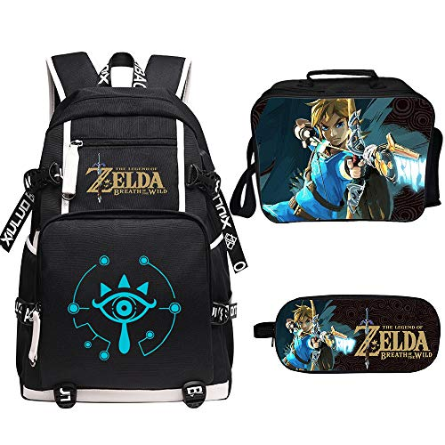 Qushy Legend Of Zelda Backpack Lunch Box Pencil Case Outdoor School Package (E)