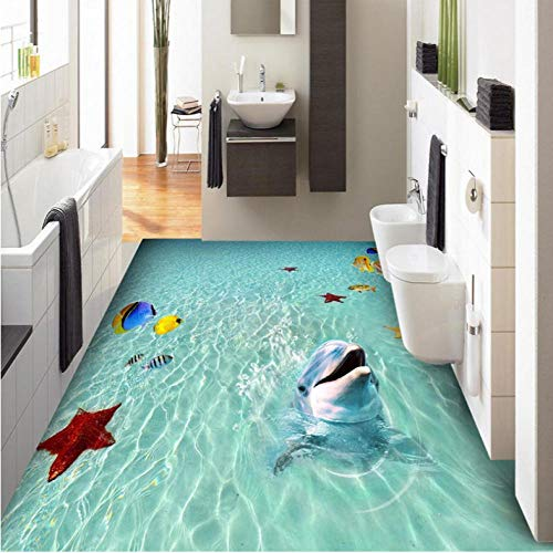 Wuyii 3D-wandbehang, motief Sea Beach Dolphin 3D vis schilderij tegels sticker PVC zelfklevend waterdicht badkamer behang 3D 250 x 175 cm.