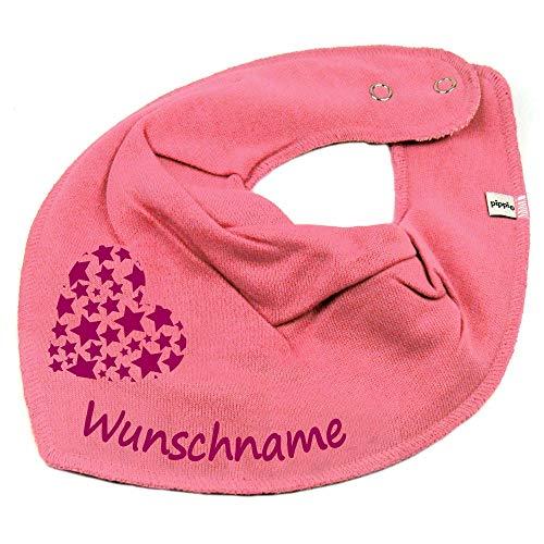 Elefantasie Halstuch Herz Sterne mit Namen oder Text personalisiert bubblepink für Baby oder Kind