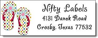 tkniftylabel Polka DOT FLIP Flops #4 Laser Return Address Labels