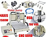 CNC Router Engraver 4 Axis USB 1.5KW VFD 6040 CNC Engraving Drilling Milling Carving Machine 3D Cutter Desktop DIY Artwork Woodworking (Without Remote Controller)