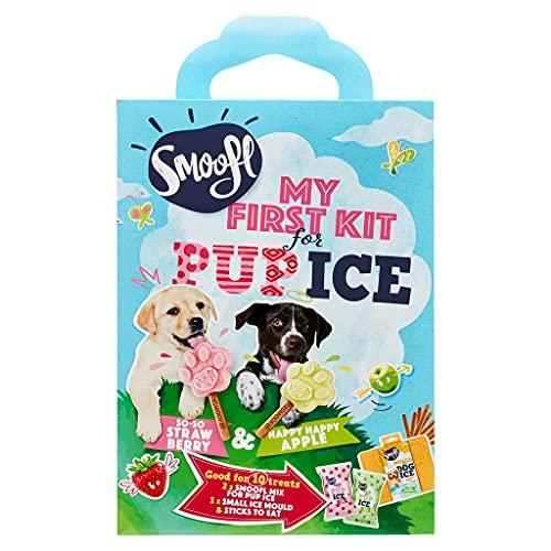Smoofl Puppy Kit - Welpen Hundesnacks: EIS Fuer Junge Hunde mit essbarem Stiel und Eisformen zum Selbermachen als Snack und gesunde Hundeleckerli mit erfrischender Wirkung, Erdbeer und Apfel