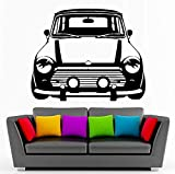 Pegatinas de pared para sala de estar, dormitorio, decoración, calcomanía de pared, Retro, clásico, Mini Cooper, pegatina artística para coche, calcomanía para habitación de coche, 69X56 cm