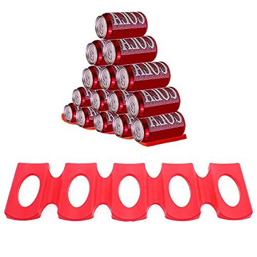 Estante para Botellas Nevera, Portabotellas de Silicona Reutilizabl, Almacenamiento Rack para Apilar Botellas Y Latas (Rojo)