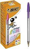 BIC Cristal Fun - Bolígrafos de punta ancha (1.6 mm), Caja de 20 unidades, color morado, rosa, verde lima y turquesa