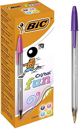 BIC Cristal Fun - Caja de 20 unidades, bolígrafos punta ancha (1,6 mm), colores surtidos
