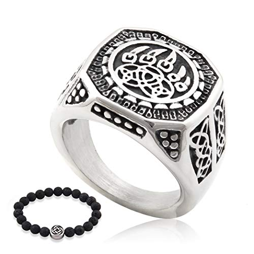 GUNGNEER Celtic Bear Paw Irish Knot Ring Stainless Steel Nordic Pattern Ancient Power Protection Accessory for Men Women