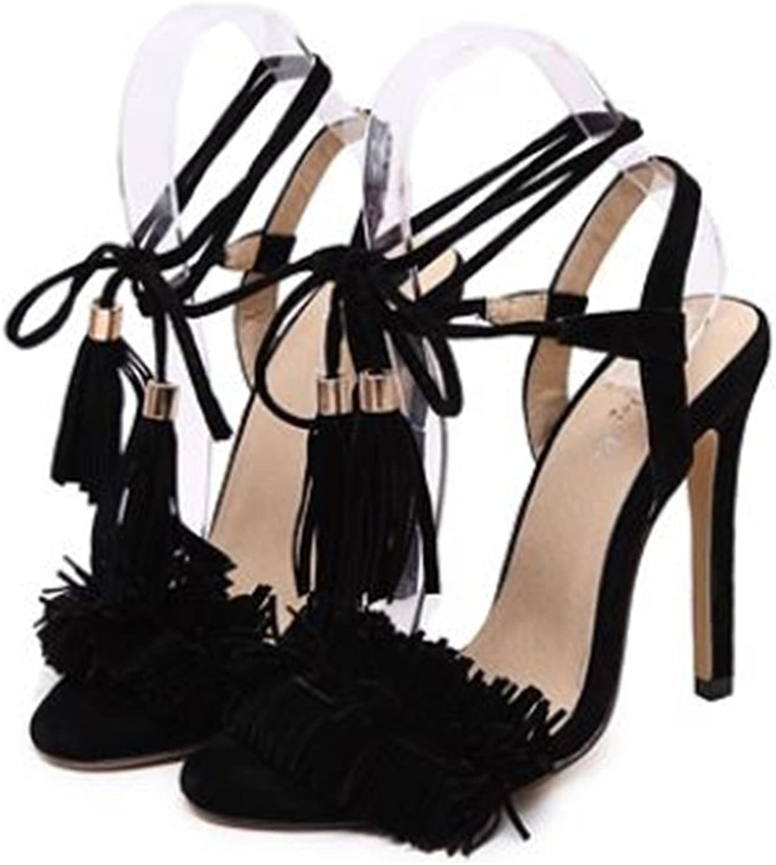 pink town Womens Fringe Open Toe High Heel Sandals