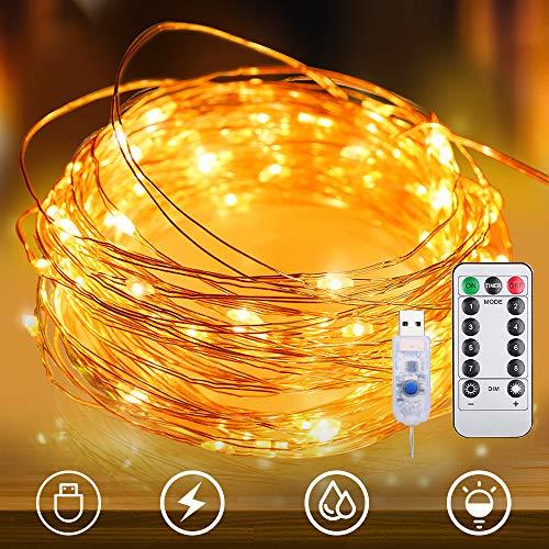 LED イルミネーションライト 100球 電池式 防水 調光可能 リモコン付属 新年 バレンタインデー 贈り物