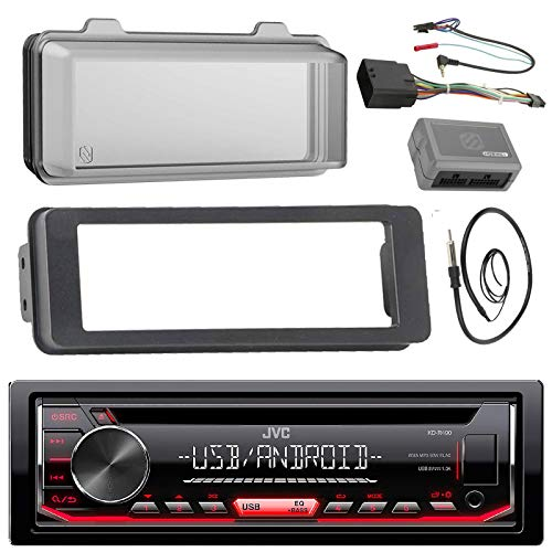 JVC KDR480 Stereo CD Receiver Radio - Bundle with Installation Dash Kit + Handle Bar Control Module + Weathershield Cover + Enrock Wire Antenna Works with 1998 2013 Harley Touring Motorcycle Bikes