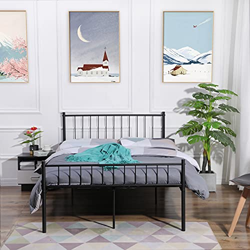 FURNITABLE Small Double Bed Metal Bed Frame Solid Bedstead Base with 2 Headboard for Adults Childre, Fit for 120 x 190 cm Mattress, Black
