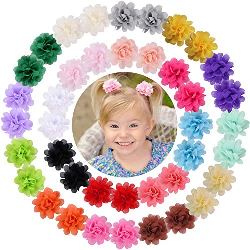 WillingTee 40pcs 2' Chiffon Flower Clips Ribbon Lined Clips Tiny Hair Clips for Baby Girls Infants Toddlers Kids 20 Colors in Pairs