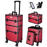 Byootique Rich Red 2in1 Aluminum Makeup Train Case Lockable Rolling Travel Salon Trolley Cosmetics Hairdressing Storage