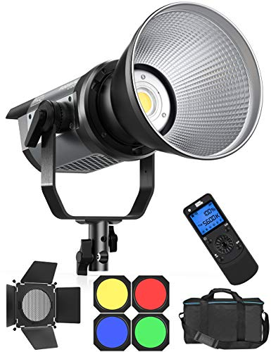 Pixel C100 LED Continuous Output Video Light with Barn Door/4 Color Filters 120W 5600K 98000lux CRI97 TLCI99 Photography Studio Light Remote Controller for Portrait Shooting and Video Recording
