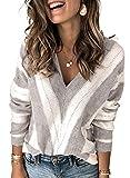 Dokotoo Damen Strickpullover V-Ausschnitt Casual Pullover Warm Oberteil Tops Streifen Sweater Elegant Herbst Winter Sweatshirt Grau S