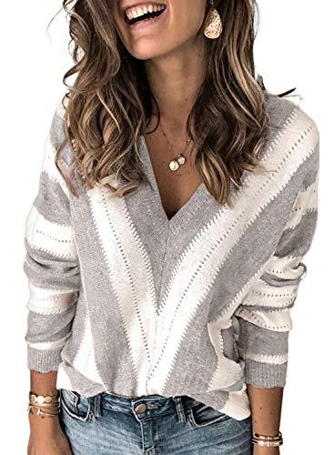 Dokotoo Damen Strickpullover V-Ausschnitt Casual Pullover Warm Oberteil Tops Streifen Sweater Elegant Herbst Winter Sweatshirt Grau M