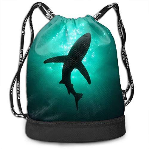 PmseK Turnbeutel Sportbeutel Kordelzug Rucksack, Shark\'s Shadow Multifunctional Bundle Backpack Shoulder Bag for Men and Women