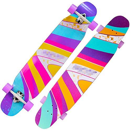 YSCYLY Skateboard Vintage,8 Layer Maple Beginner Long Board,FüR Erwachsene Kinder Jungen MäDchen