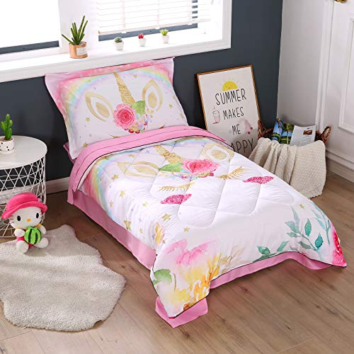 Wowelife Rainbow Unicorn Toddler Bedding Set Pink 4 Piece Clounds Toddler Bed Sets for Girls (Pink Rainbow)