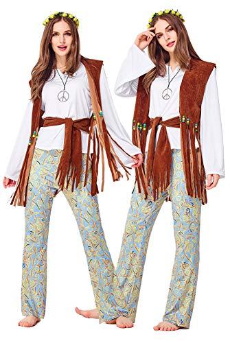COSOER Hip Hop Sänger Cosplay Paar Kostüm Retro Weste Hawaiian Dance Show Kleidung Für Halloween Männlich/Weiblich Wear,Female-M
