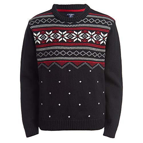 Chaps Boys' Big Fair Isle Pullover Crewneck Sweater, Holiday Black, Large (14/16)