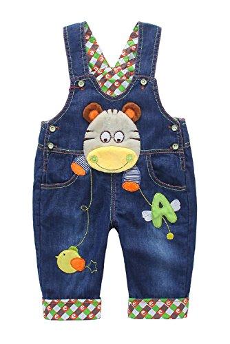 DEBAIJIA Baby Jungen Mädchen Denim Latzhose Kleinkind Hosenträger Jeans Overall Nilpferd Herstellergr.73 - Deutsche Gr.68/74