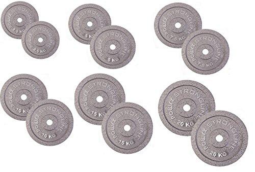 POWRX - Dischi Pesi ghisa 15 kg Set (2 x 7,5 kg) + PDF Workout (Grigio Argento)