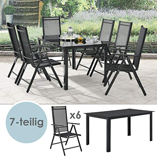 ArtLife Aluminium Gartengarnitur Milano | Gartenmöbel Set mit Tisch und 6 Stühlen | dunkel-grau mit schwarzer Kunstfaser | Alu Sitzgruppe Balkonmöbel